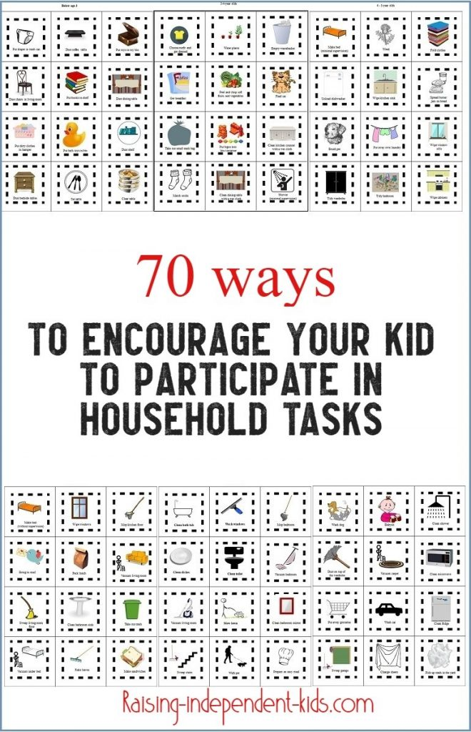 70 ways to encourage your kid to participate in household tasks